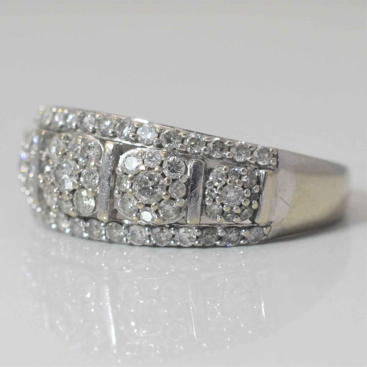 Floral Diamond Cluster Band | 1.00 ctw, SZ 8.75 |
