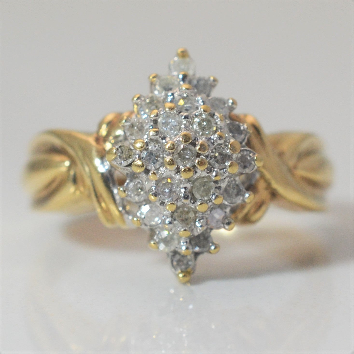 Marquise Shaped Diamond Cluster Ring | 0.22 ctw, SZ 6.75 |