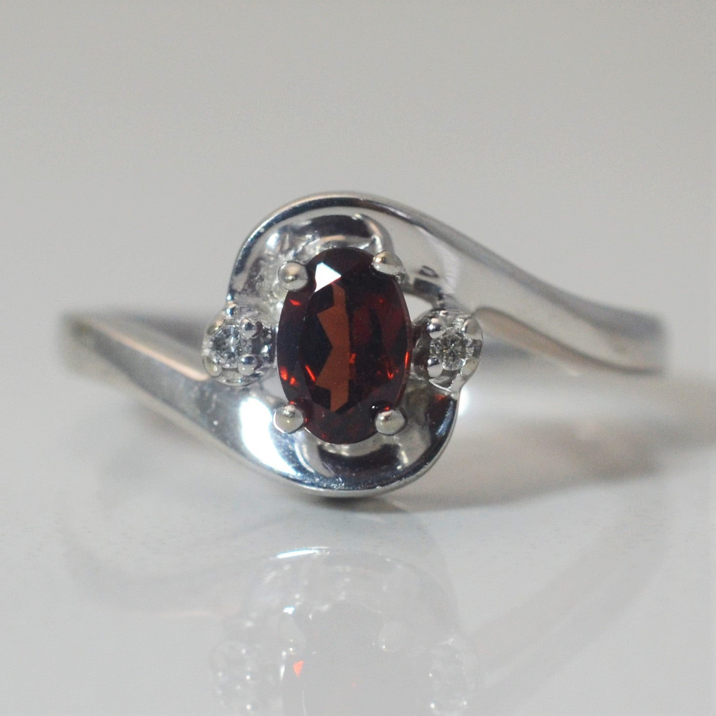 Bypass Garnet & Diamond Ring | 0.01 ctw, SZ 6.5 |