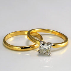 Elegant Princess Diamond Solitaire Wedding Set | 0.70 ct, SZ 7 | VVS2, I |