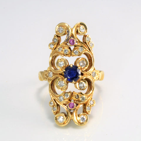 Intricate Art Nouveau Era Cocktail Ring | 0.45 ctw, SZ 9 |