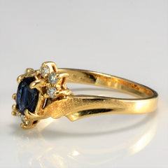 Sapphire and Diamond Bypass Ring | 0.06 ctw SZ 5.5 |
