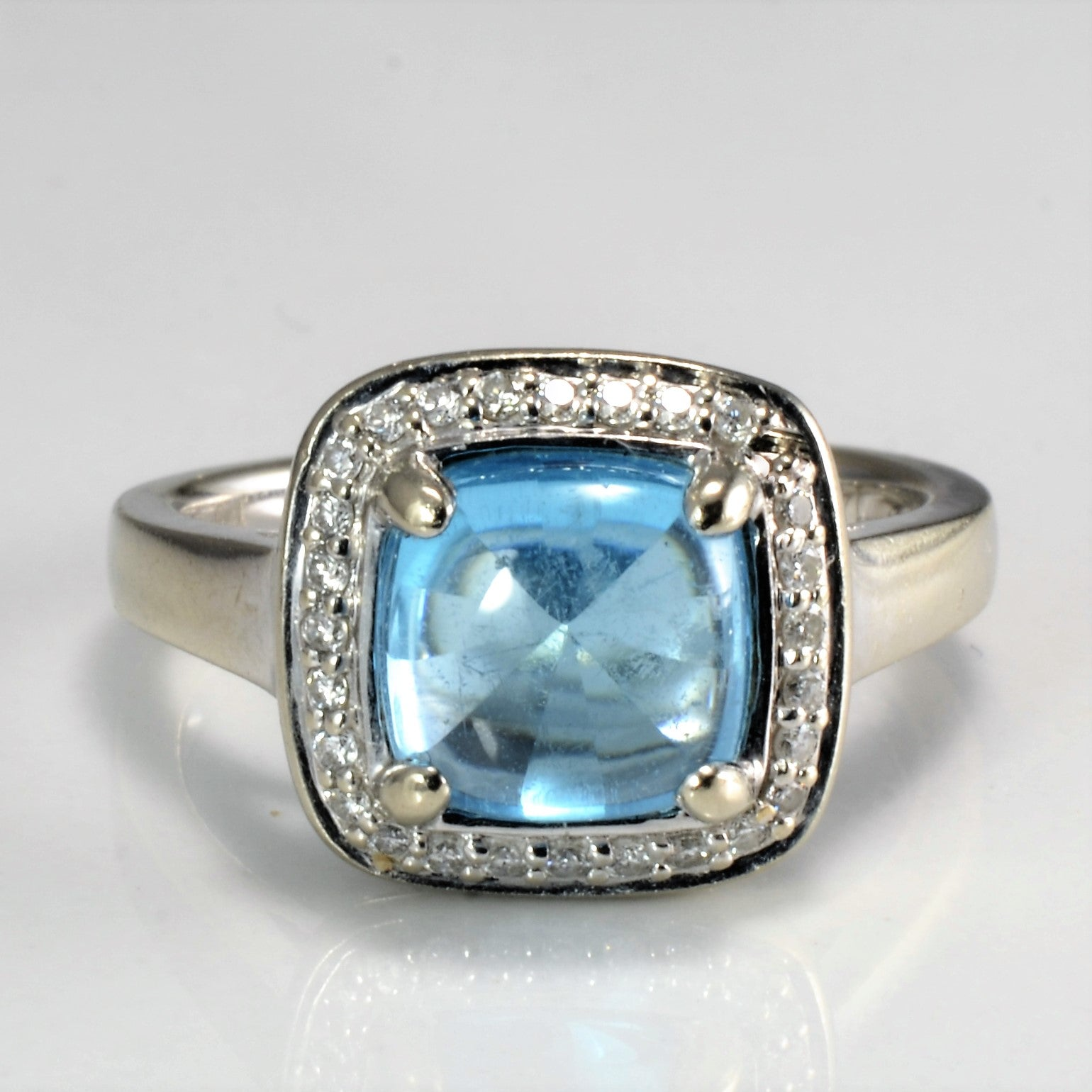 Blue Topaz with Diamond Accent Ring | 0.14 ctw SZ 7 |