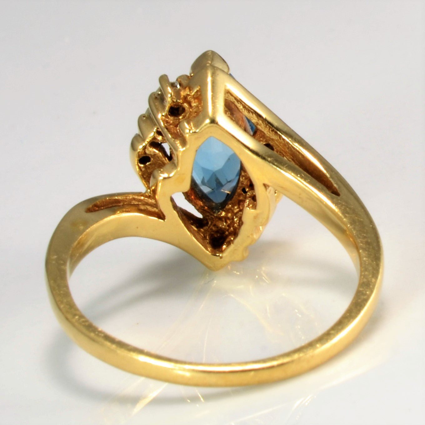Blue Topaz and Diamond Accent Ring | 0.08 ctw SZ 4 |