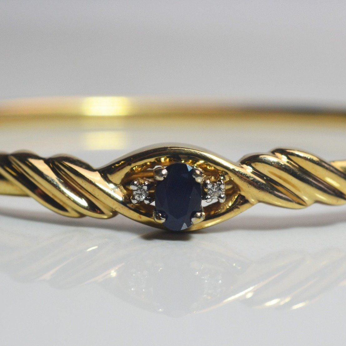 Oval Cut Sapphire Bangle Bracelet | 0.02ctw, 0.50ct |