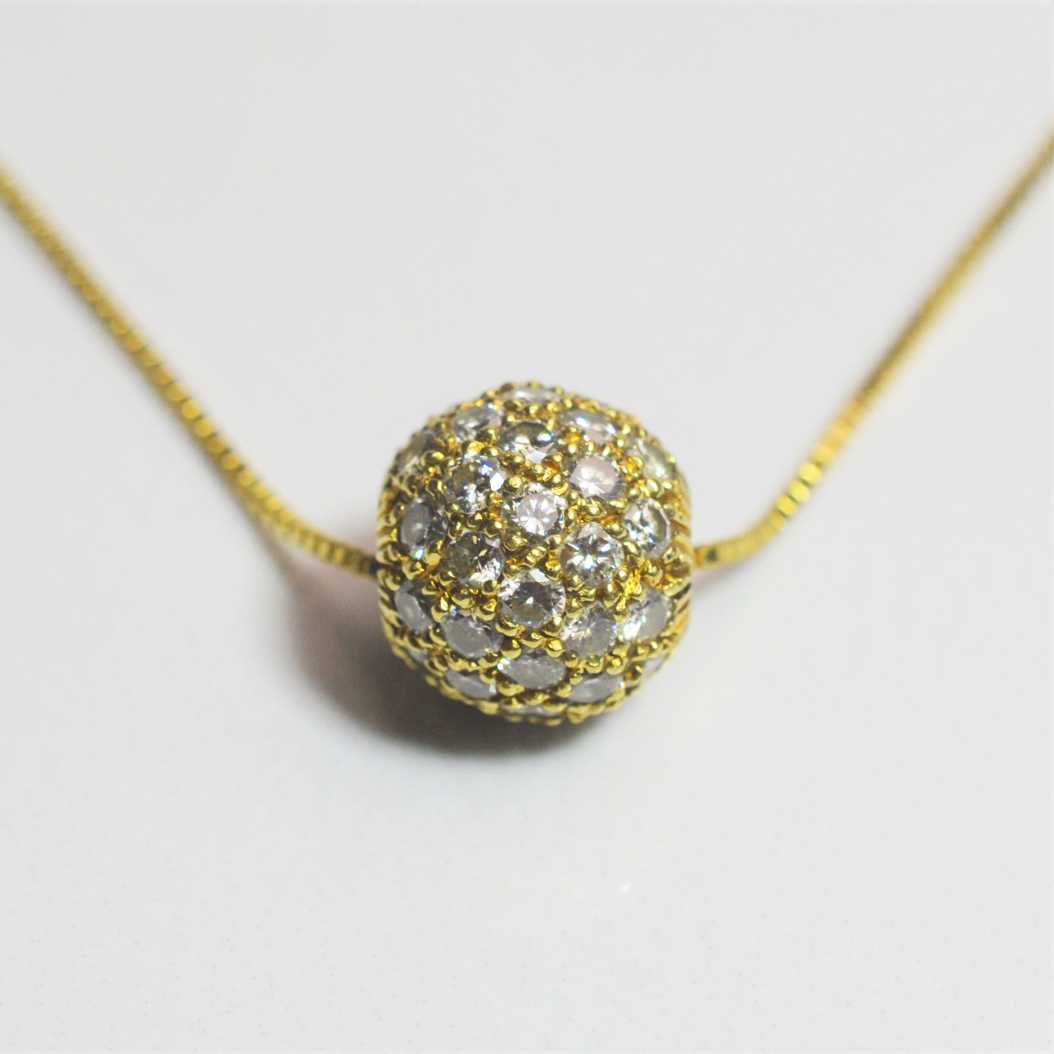 Diamond Pave Ball Necklace | 1.25ctw | 18"