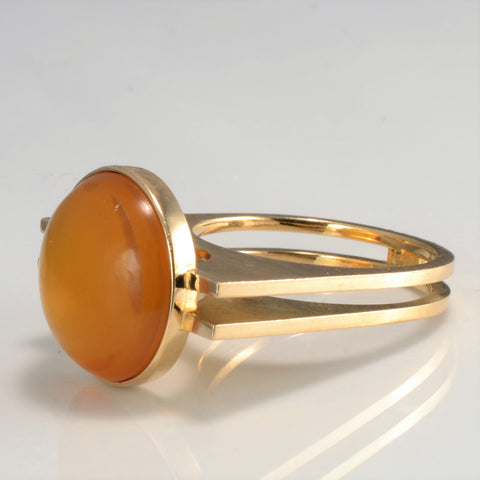 Bezel Set Fire Opal Ring | SZ 6.75 |