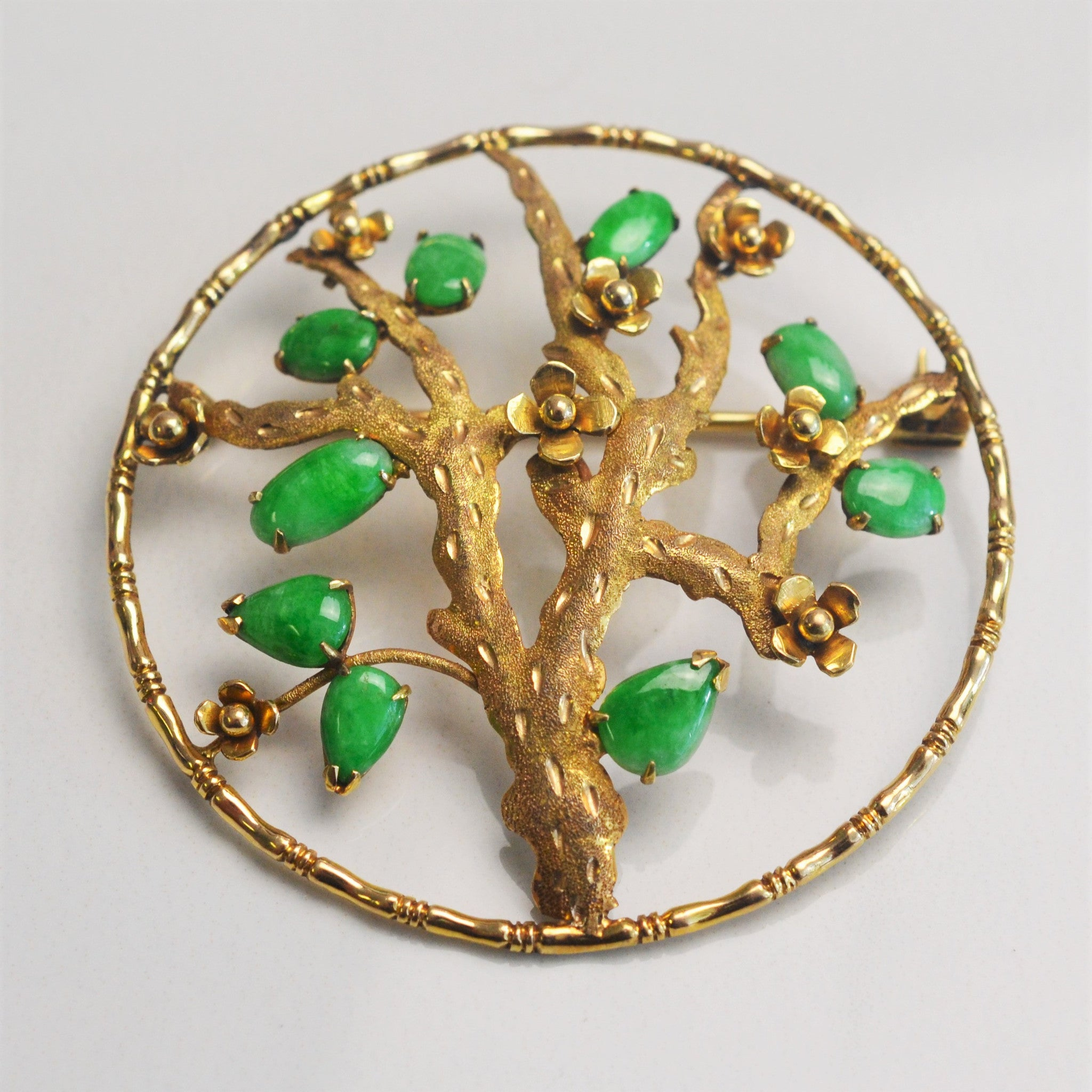 Jade Tipped Tree Brooch