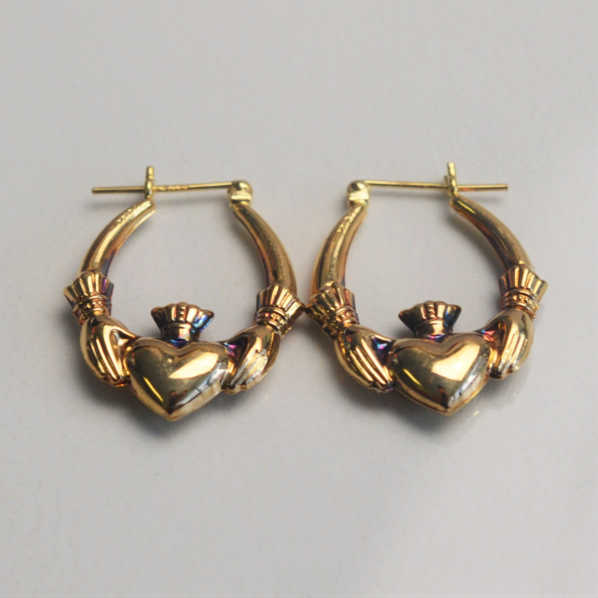 Yellow Gold Claddagh Earrings