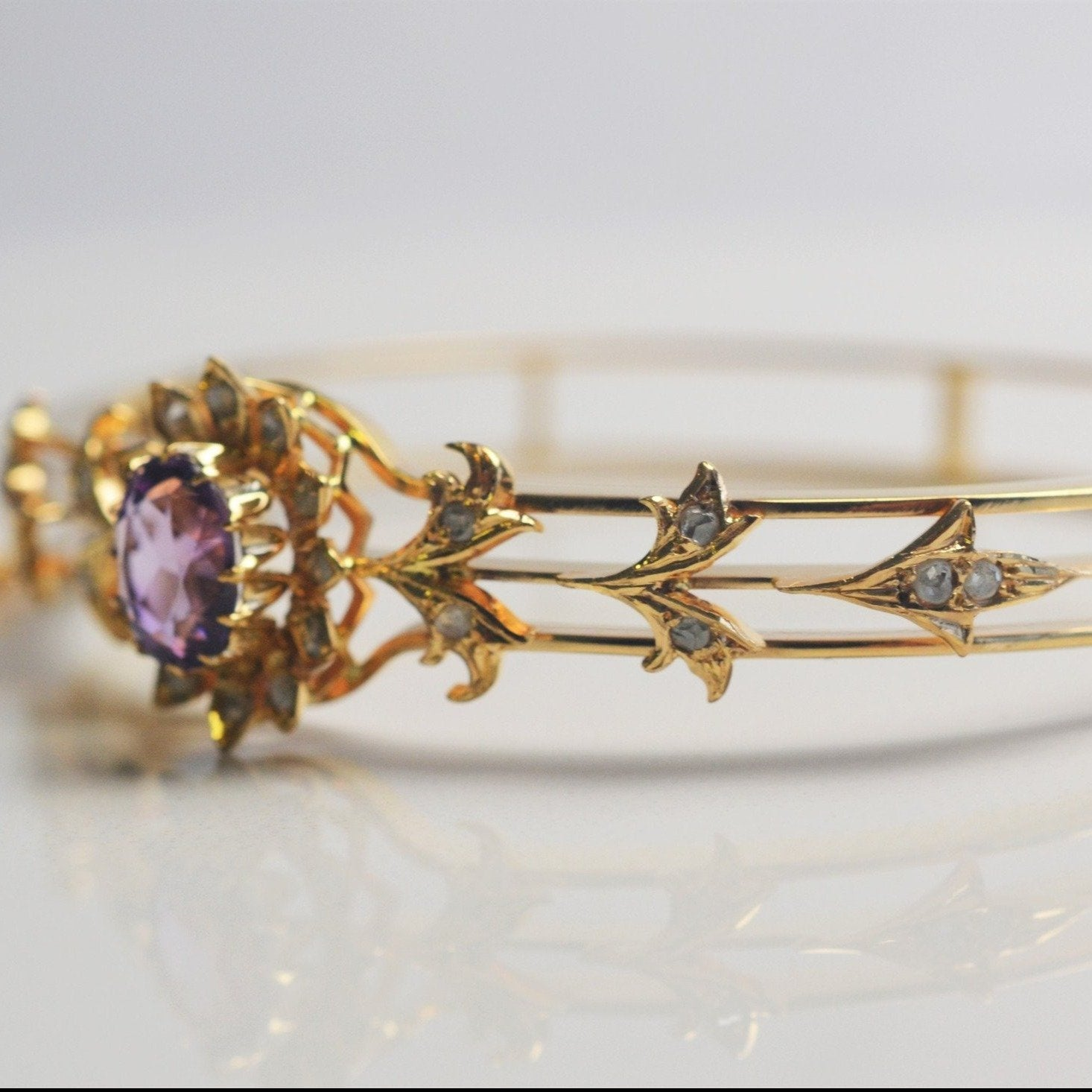 Edwardian Era Diamond & Amethyst Bracelet | 0.35ctw, 1.75ct |