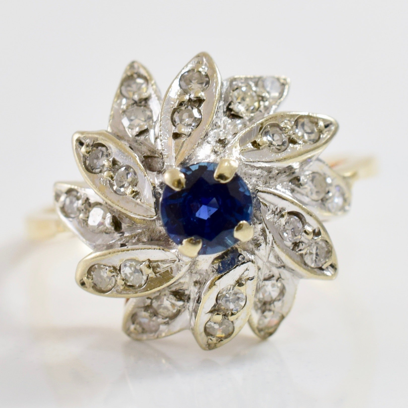 High Set Floral Diamond and Sapphire Ring | 0.18 ctw SZ 6.75 |