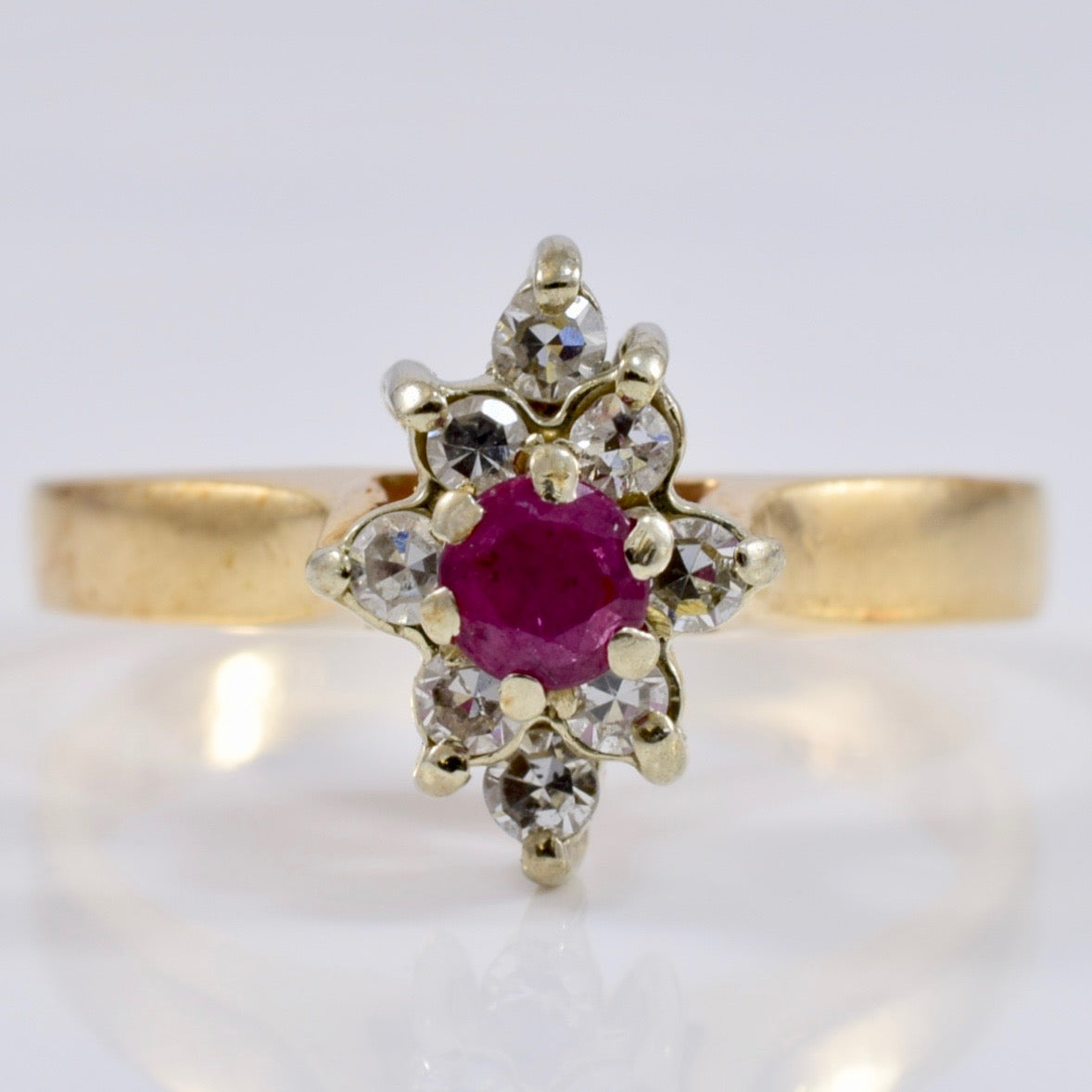 Ruby and Diamond Cluster Ring | 0.16 ctw SZ 4.5 |