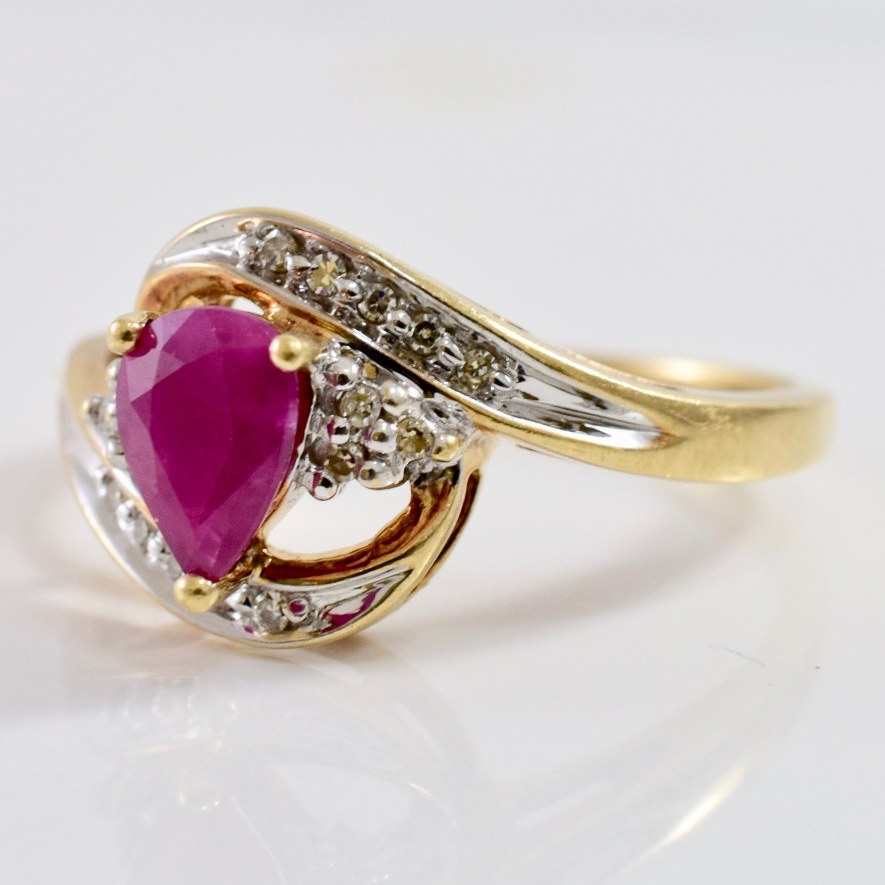 Ruby and Diamond Bypass Ring | 0.06 ctw SZ 7.75 |