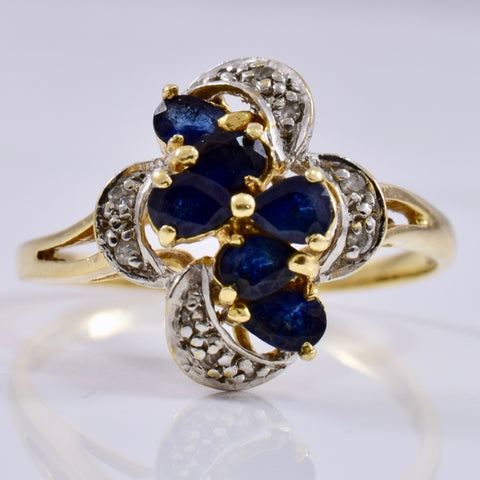 Floral Sapphire and Diamond Cluster Ring | 0.05 ctw SZ 7.5 |