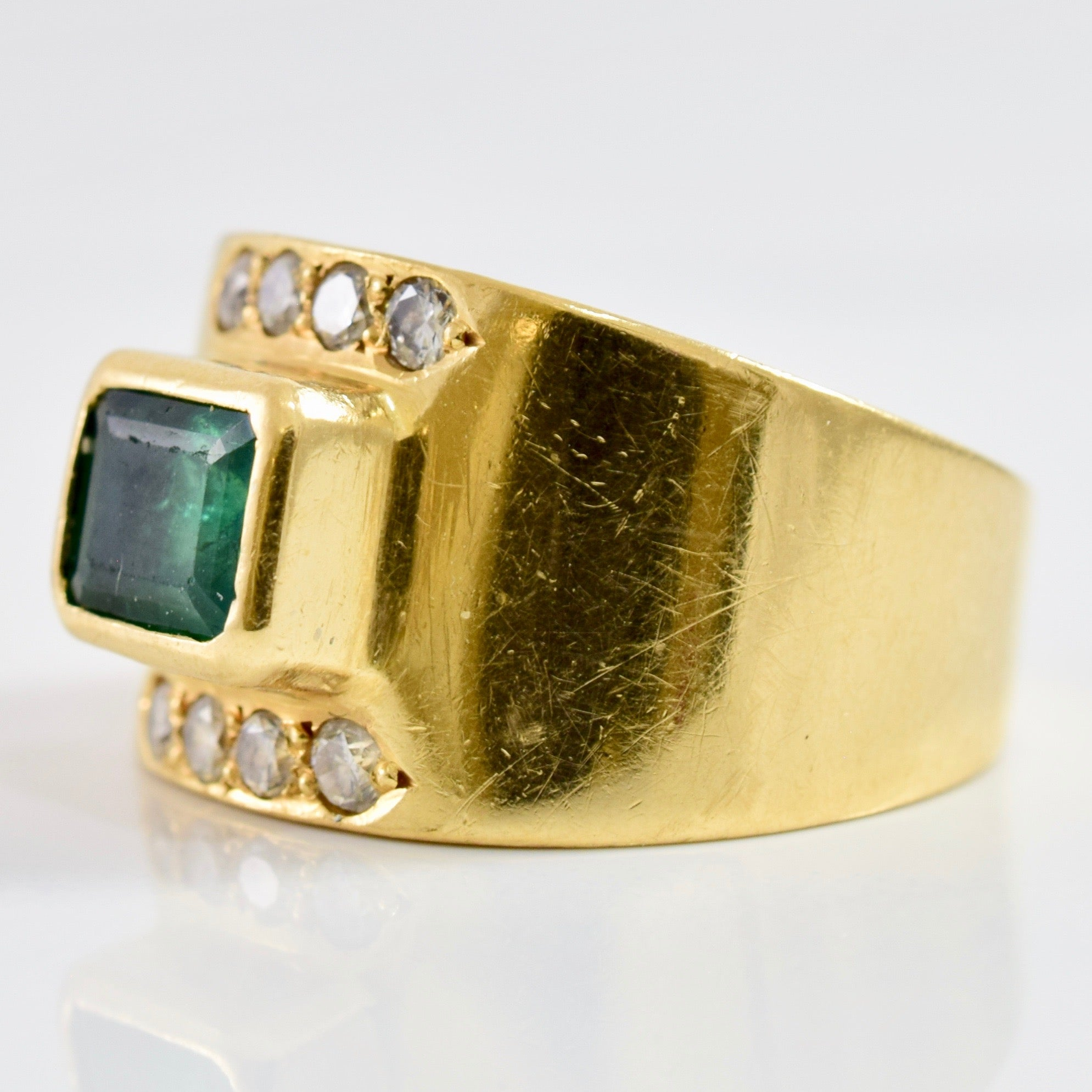 Bezel Set Emerald and Diamond Ring | 0.16 ctw SZ 5 |
