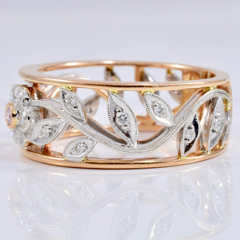 Floral Design Diamond Band with Pink Diamond Centre Stone | 0.31 ctw SZ 8.75 |