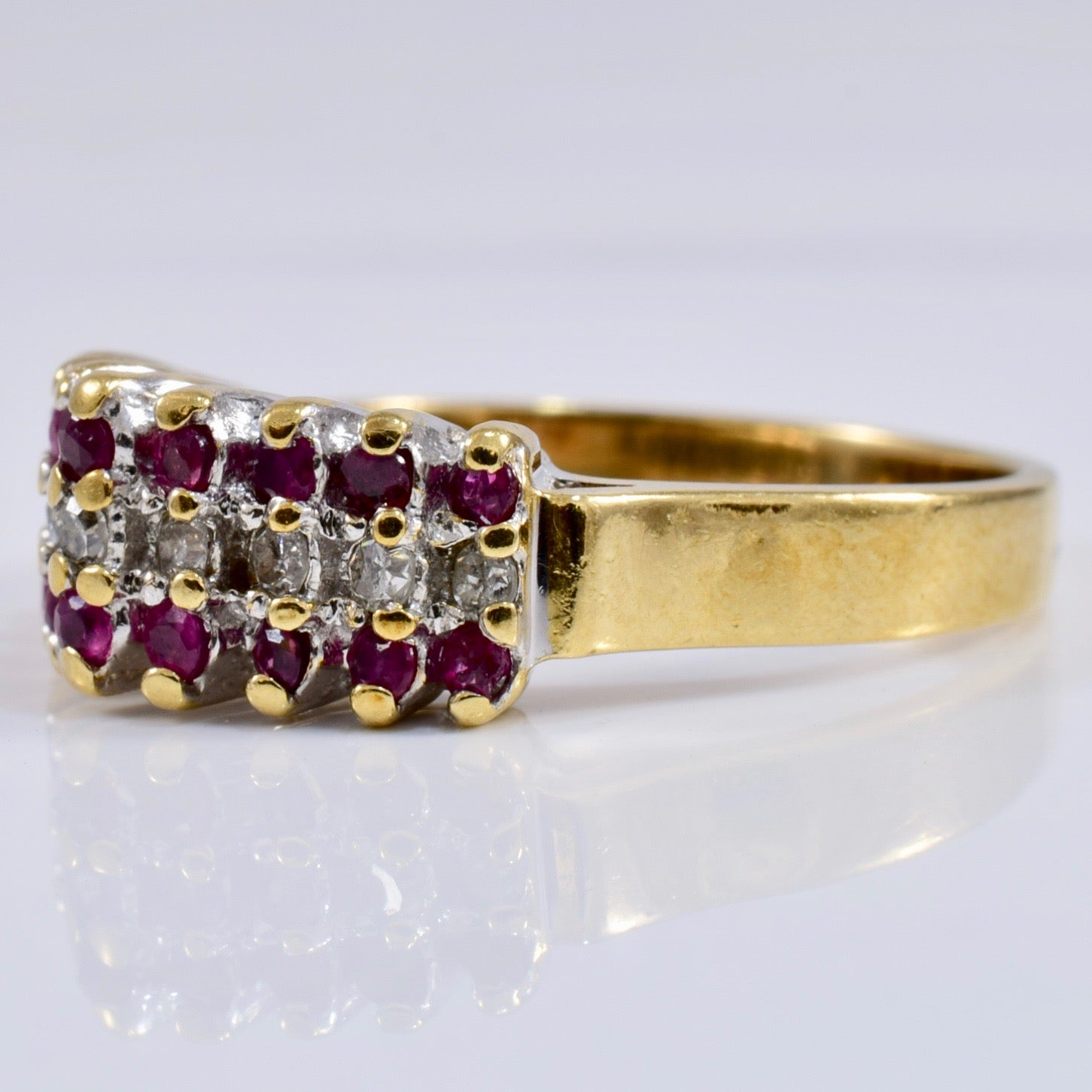 High Set Ruby and Diamond Ring | 0.21 ctw SZ 7.25 |