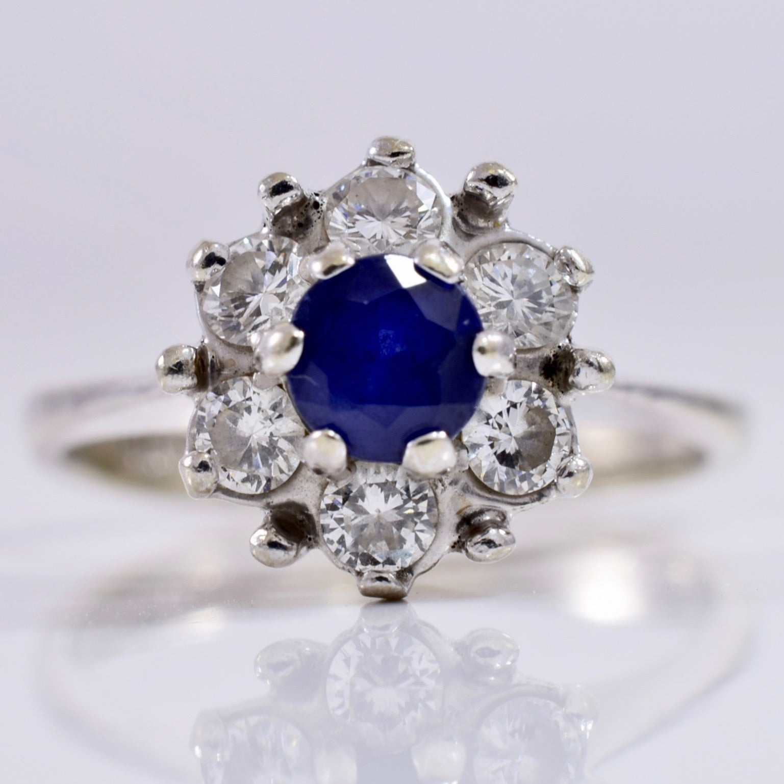 Sapphire and Diamond Cluster Ring | 0.30 ctw SZ 4.75 |