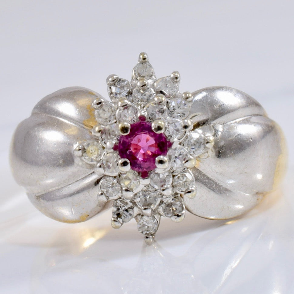 Tapered Ruby and Diamond Cluster Ring | 0.22 ctw SZ 8 |