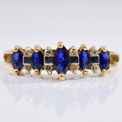 High Set Sapphire and Diamond Ring | 0.08 ctw SZ 7 |