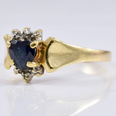 Heart Cut Sapphire Ring with Diamond Accents | 0.01 ctw SZ 6.75 |