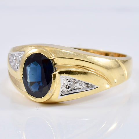 Bezel Set Sapphire and Diamond Ring | 0.03 ctw SZ 10.5 |