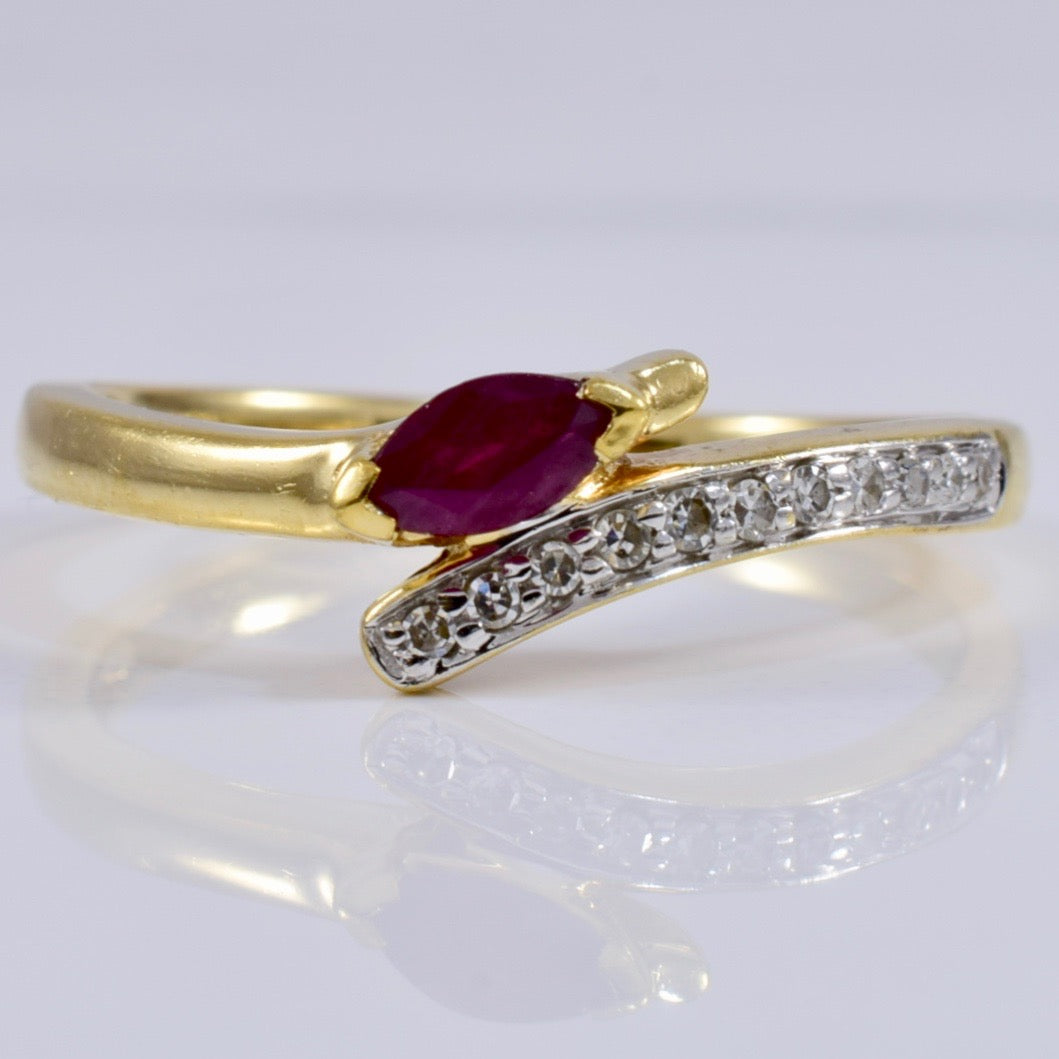 Bypass Diamond and Ruby Ring | 0.05 ctw SZ 5.5 |