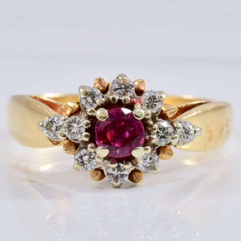 High Set Ruby and Diamond Cluster Ring | 0.21 ctw SZ 7 |