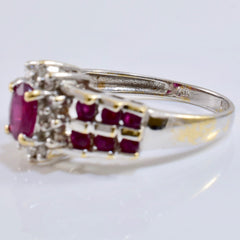 Ruby and Diamond Cluster Ring | 0.12 ctw SZ 6 |