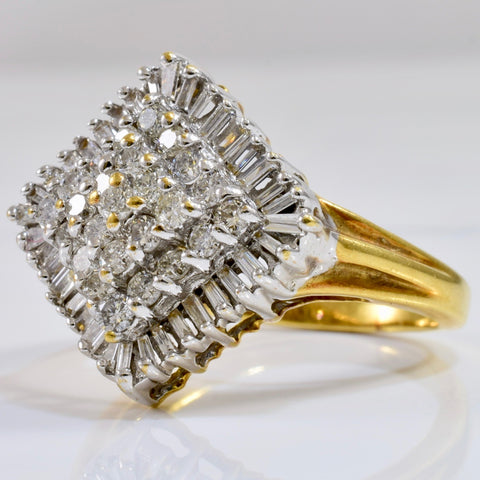 Baguette and Round Cut Diamond Cluster Ring | 0.87 ctw SZ 8.25 |