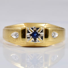 Flush Set Sapphire Ring with Diamond Accents | 0.01 ctw SZ 10.25 |