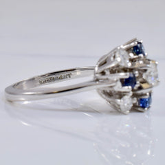 High Set Sapphire and Diamond Cluster Ring | 0.48 ctw SZ 6.5 |