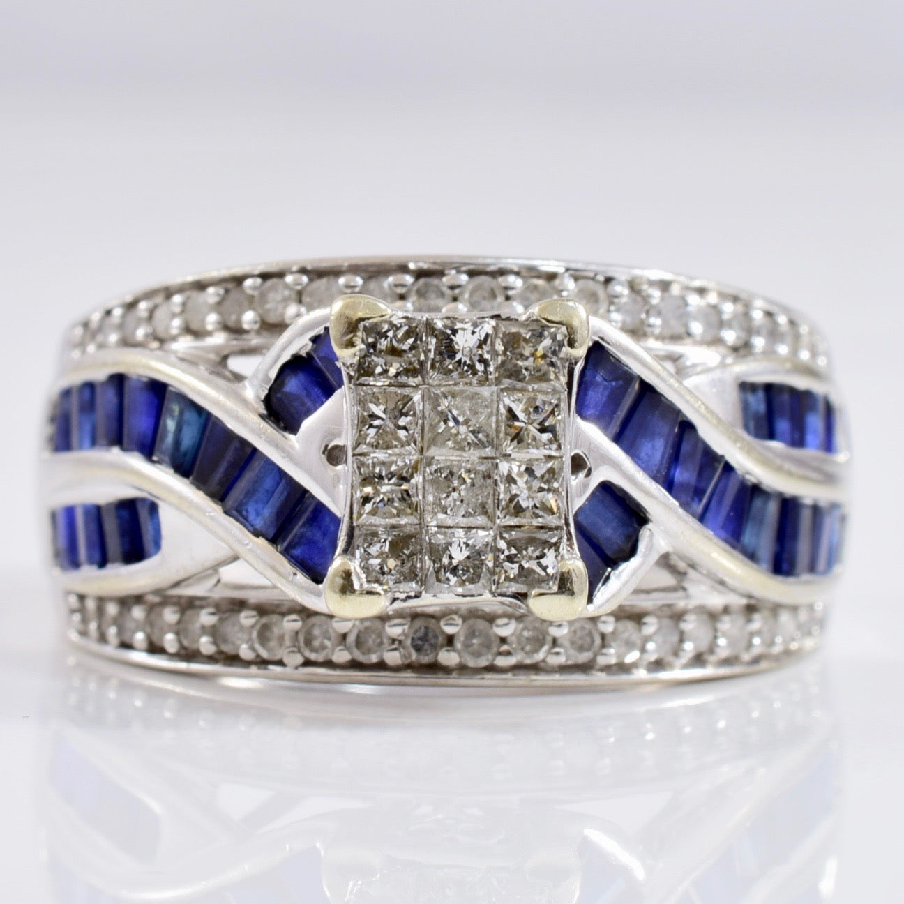 Diamond Cluster Ring with Sapphire Accents | 0.50 ctw SZ 6.75 |