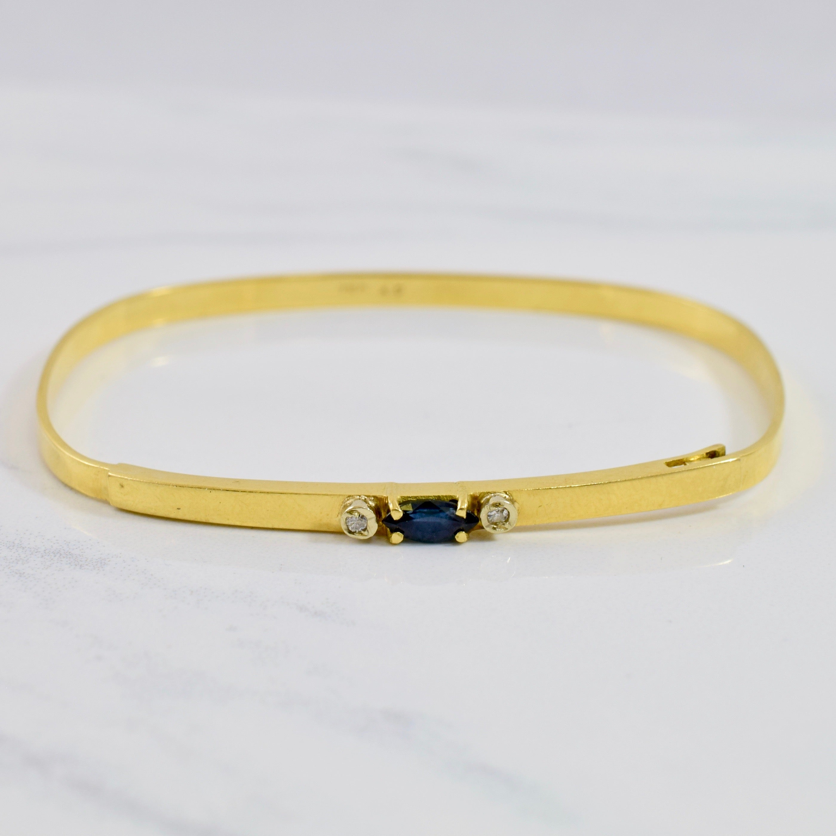 Petite Sapphire and Diamond Bangle | 0.03 ctw SZ 7 "