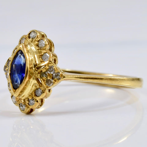 Bezel Set Sapphire and Diamond Accent Ring | 0.09 ctw SZ 6.5 |