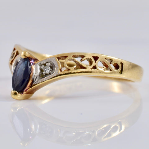 Chevron Sapphire and Diamond Ring | 0.01 ctw SZ 6.5 |