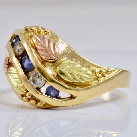 Channel Set Sapphire and Diamond Leaf Ring | 0.10 ctw SZ 7 |