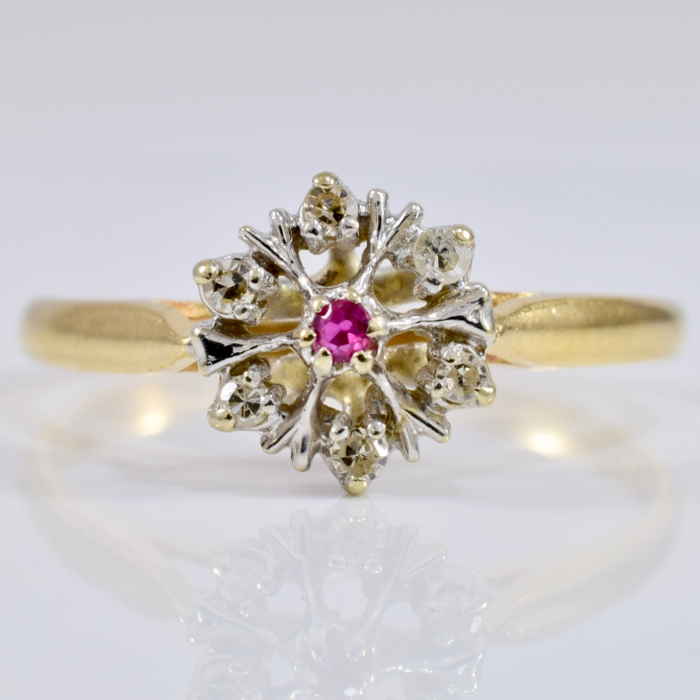 Floral Diamond and Ruby Ring | 0.06 ctw SZ 5.75 |