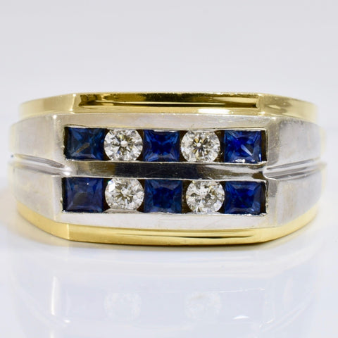 Channel Set Diamond and Sapphire Ring | 0.24 ctw SZ 10.5 |