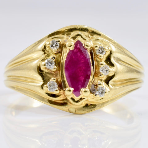 Ruby and Diamond Accent Ring | 0.05 ctw SZ 6.75 |