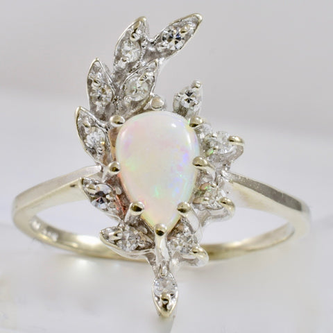 High Set Opal and Diamond Ring | 0.18 ctw SZ 10.25 |