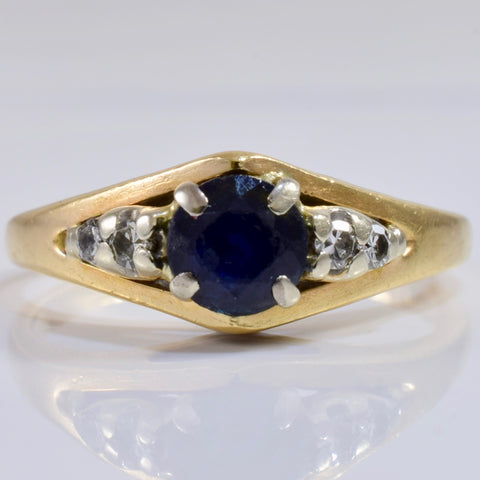 Sapphire and Diamond Accent Ring | 0.07 ctw SZ 4 |