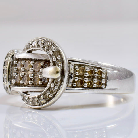 Belt Buckle Ring with Chocolate Coloured Diamonds | 0.21 ctw SZ 7.5 |