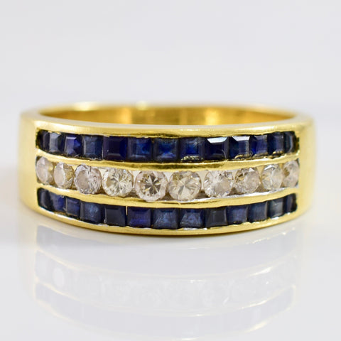 Channel Set Diamond and Sapphire Ring | 0.27 ctw SZ 6.5 |