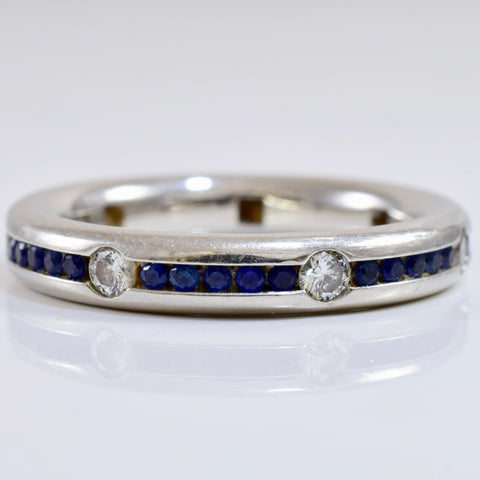 Channel Set Diamond and Sapphire Ring | 0.35 ctw SZ 6 |