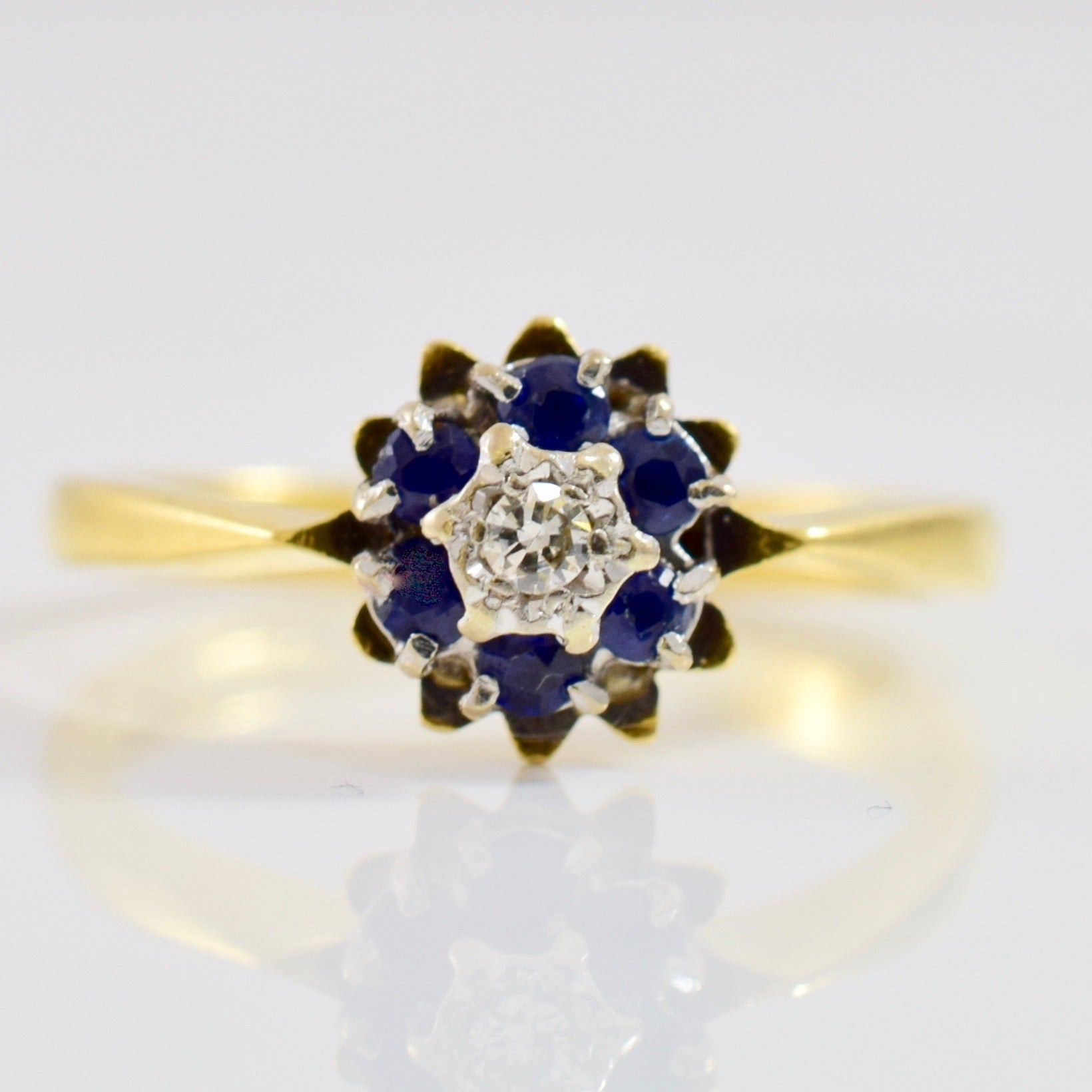 Floral Diamond and Sapphire Ring | 0.03 ctw SZ 5.75 |