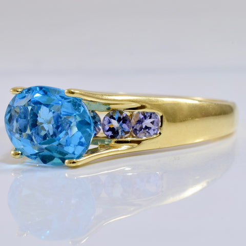 High Set Blue Topaz and Tanzanite Accent Ring | SZ 10 |