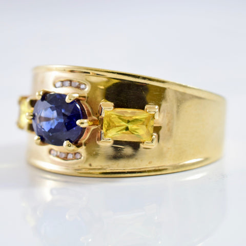 Blue and Yellow Sapphire Ring | 0.03 ctw SZ 9.5 |