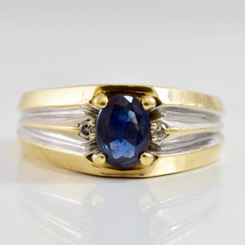 Prong Set Sapphire and Diamond Band | 0.03 ctw SZ 9.5 |