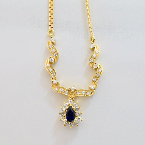Elegant Diamond and Sapphire Necklace | 0.42 ctw SZ 17"